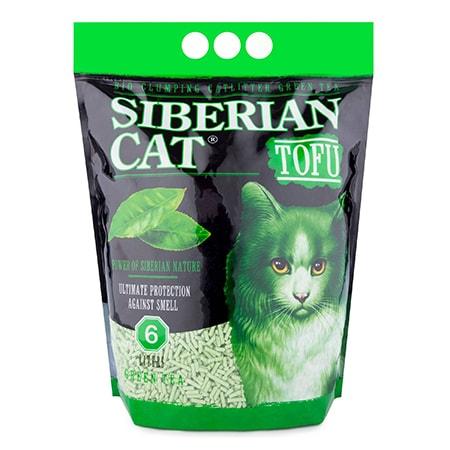 Наполнитель для кошачьих туалетов биоразлагаемый комкующийся СИБИРСКАЯ КОШКА Тофу зеленый чай 6 л