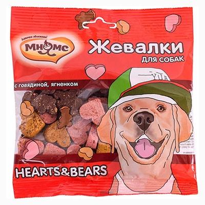 Лакомство для собак Мнямс Жевалки HEARTS&BEARS с говядиной и ягненком