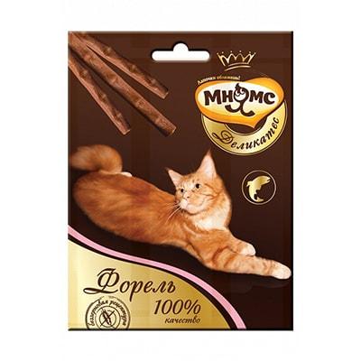 Лакомство для кошек Мнямс Деликатес лакомые палочки 9 см с форелью 3х4 г