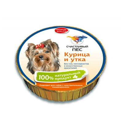 Влажный корм для собак Счастливый пес, курица и утка, 125 гр
