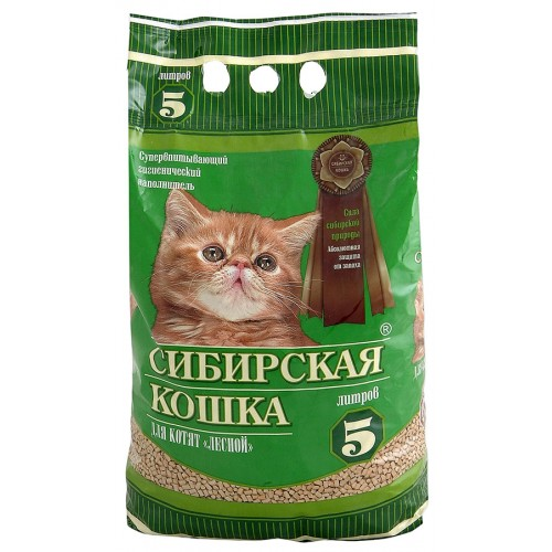 Наполнитель древесный Сибирская Кошка 5л для котят ЛЕСНОЙ