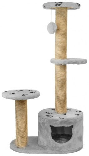 "Домик-когтеточка ""Джут 95"" серый круглый 3-х уровневый Дарэлл 66*36*112см"