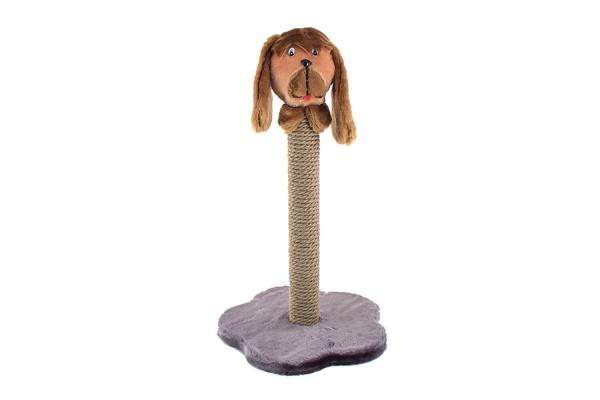 Когтеточка ЧИП на подставке Столбик с собакой (столбик джут) 38*38*59