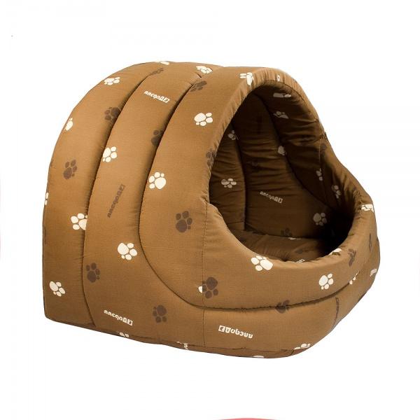 Домик для кошки лукошко поролон коричневый