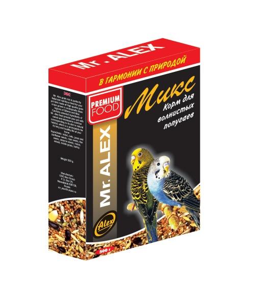 Корм для волнистых попугаев МИСТЕР АЛЕКС Микс 500г